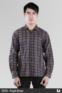 Kemeja Flanel - Purple Brown - 18143