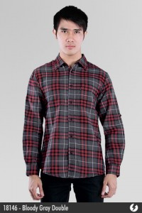 Kemeja Flanel - Bloody Gray Double - 18146