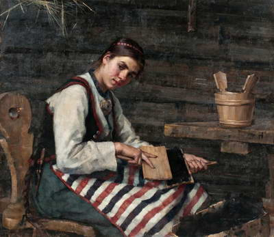 Girl Carding Wool