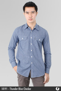 Kemeja Katun - Thunder Blue Checker - 18191