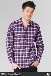 Kemeja Flannel - Purple Plaid On - 18214