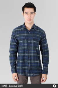 Kemeja Flannel - Green At Dark - 18218