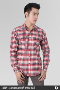 Kemeja Flannel - Lumberjack Off White Red - 18219