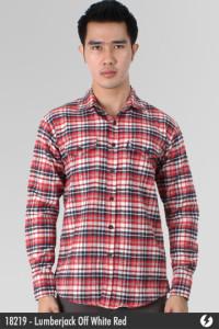 Flannel Shirt - Lumberjack Off White Red - 18219