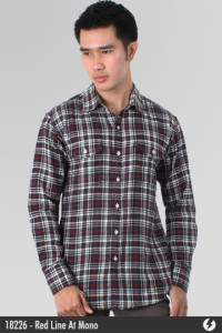 Flannel Shirt - Red Line At Mono - 18226