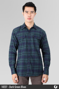 Kemeja Flannel - Dark Green Blues - 18227