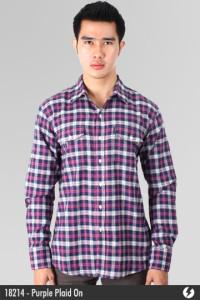 Flannel Shirt - Purple Plaid On - 18214