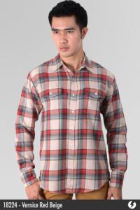 Flannel Shirt - Vernice Red Beige - 18224