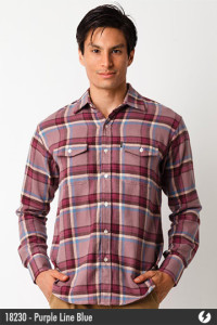 Kemeja Flannel - Purple Line Blue - 18230