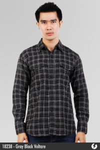 Flannel Shirt - Gray Black Voltare - 18238