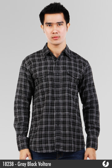 Flannel Shirt - Gray Black Voltare - 18238