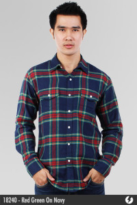 Flannel Shirt - Red Green On Navy - 18240