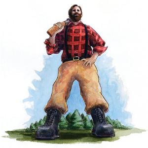 Paul Bunyan in flannel shirt