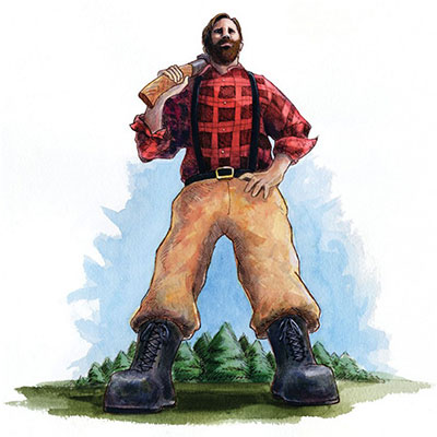 Paul Bunyan in flannel shirt