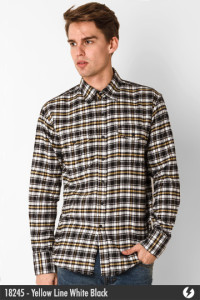 Flannel Shirt - Yellow Line White Black - 18245