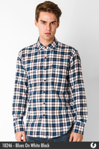 Flannel Shirt - Blues On White Black - 18246