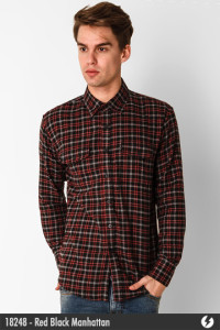 Flannel Shirt - Red Black Manhattan - 18248