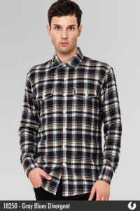 Kemeja Flannel - Gray Blues Divergent - 18250