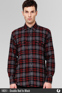 Kemeja Flannel - Double Red In Black - 18251