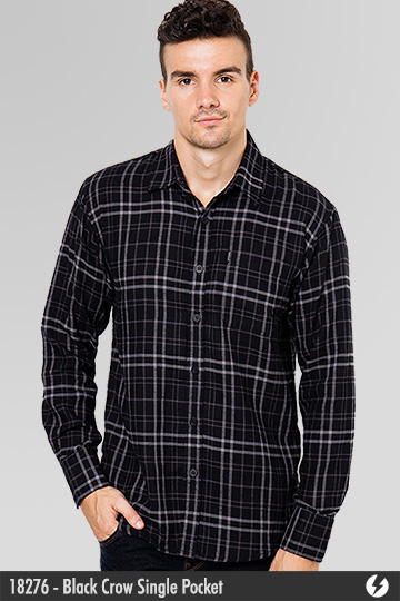 Kemeja Pria - Kemeja Flanel - Black Crow Single Pocket - 18276
