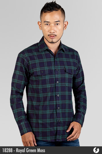 Kemeja Flanel - Royal Green Moss - 18288q