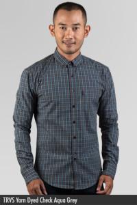 Kemeja Pria - Kemeja Cotton - TRVS Yarn Dyed Check Aqua Grey
