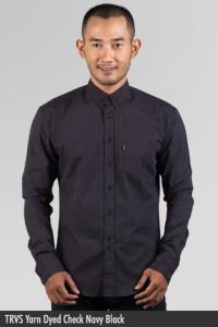 Kemeja Pria - Kemeja Cotton - TRVS Yarn Dyed Check Navy Black