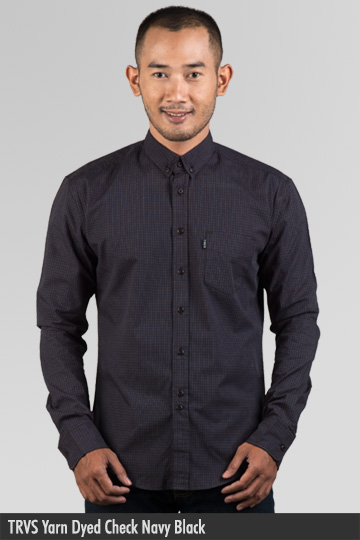 Kemeja Pria - Kemeja Cotton - TRVS Yarn Dyed Check Navy Black