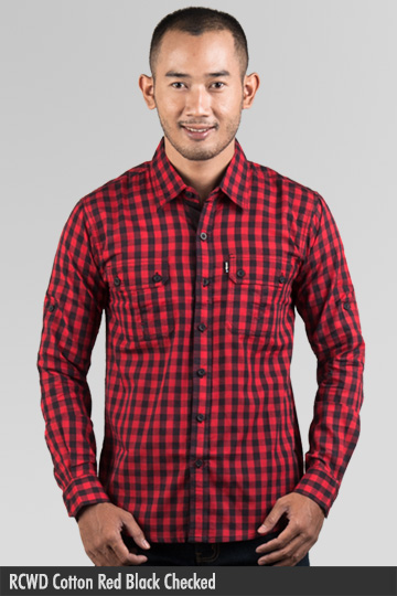 Kemeja Pria - Kemeja Cotton - RCWD Cotton Red Black Checked