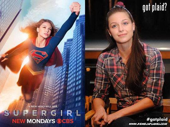 Melissa Benoist, Supergirl memakai kemeja flanel