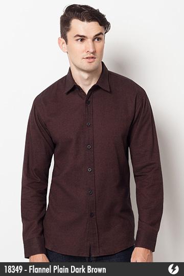 Kemeja Pria - Kemeja Flanel - Flannel Plain Dark Brown - 18349