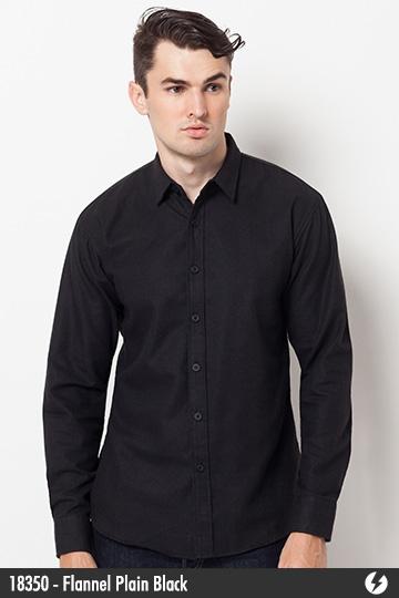 Kemeja Pria - Kemeja Flanel - Flannel Plain Black - 18350