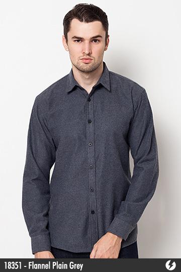 Kemeja Pria - Kemeja Flanel - Flannel Plain Grey - 18351