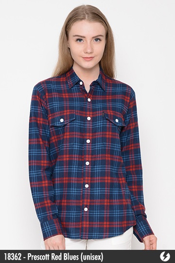 Kemeja Flanel Unisex - Prescott Red Blues - 18362