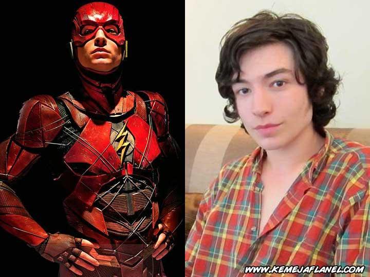 Flash - Ezra Miller memakai Kemeja Flanel