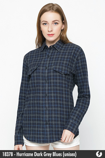 Kemeja Flanel Unisex - Hurricane Dark Grey Blues - 18378