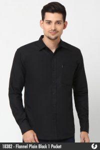 Kemeja Pria - Kemeja Flanel - Flannel Plain Black 1 Pocket - 18382