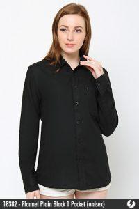 Kemeja Flanel Unisex - Flannel Plain Black 1 Pocket - 18382
