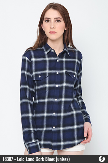 Kemeja Flanel Unisex - Lala Land Dark Blues - 18387