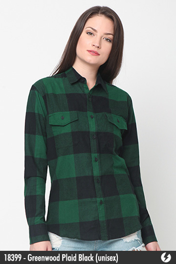 Kemeja Flanel Unisex - Greenwood Plaid Black - 18399