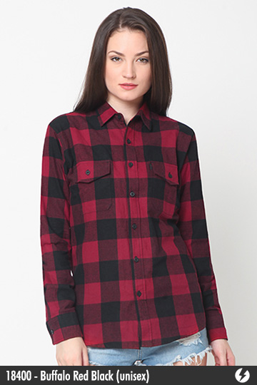 Kemeja Flanel Unisex - Buffalo Red Black - 18400