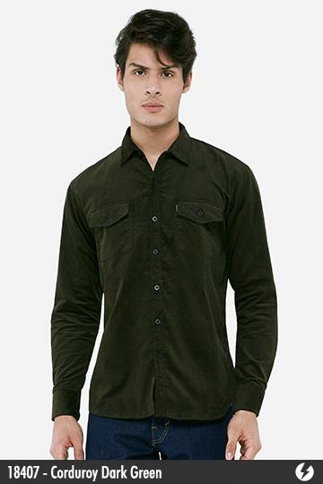 Kemeja Pria - Kemeja Corduroy - Corduroy Dark Green - 18407