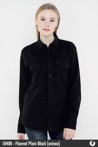 Kemeja Flanel Unisex - Flannel Plain Black - 18408