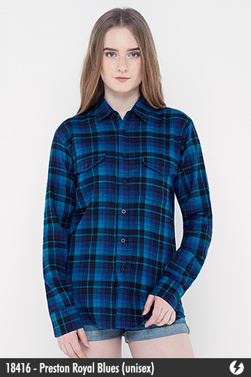 Kemeja Flanel Unisex - Preston Royal Blues - 18416