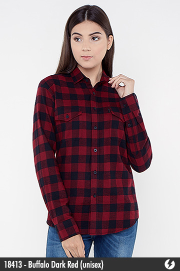 Kemeja Flanel Unisex - Buffalo Dark Red - 18413