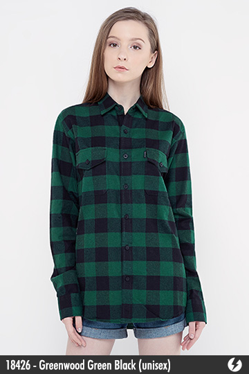 Kemeja Flanel Unisex - Greenwood Green Black - 18426