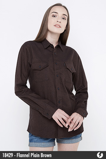 Kemeja Flanel Unisex - Flannel Plain Brown - 18429