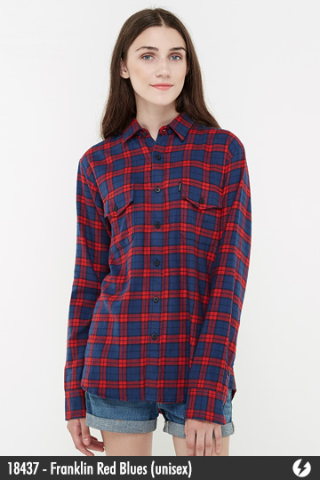 Kemeja Flanel Unisex - Franklin Red Blues - 18437