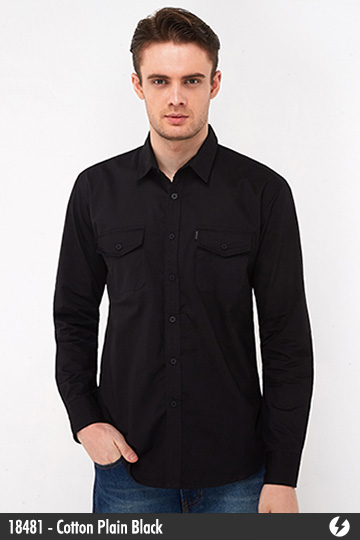 Kemeja Katun - Kemeja Katun - Cotton Plain Black - 18481