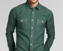 TRVS Chambray LS Forest Green